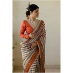 Kota silk  saree in natural dyed handblock print with organza silk/chiffon silk patch work borde