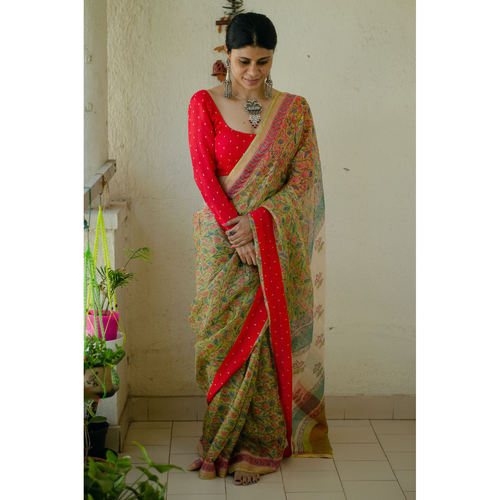 Kota silk  saree in natural dyed handblock print with organza silk/chiffon silk patch work border.