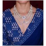 Handmade silver chand chandrahaar neckpiece.