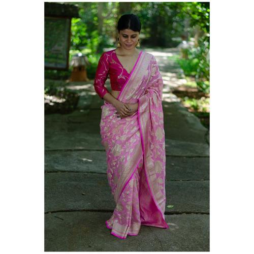 Handloom floral jaal khaddi chiffon banarasi saree
