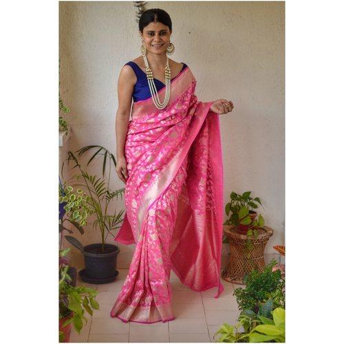 Handwoven Katan Silk Banarasi saree with handwoven motif and jari on pallu