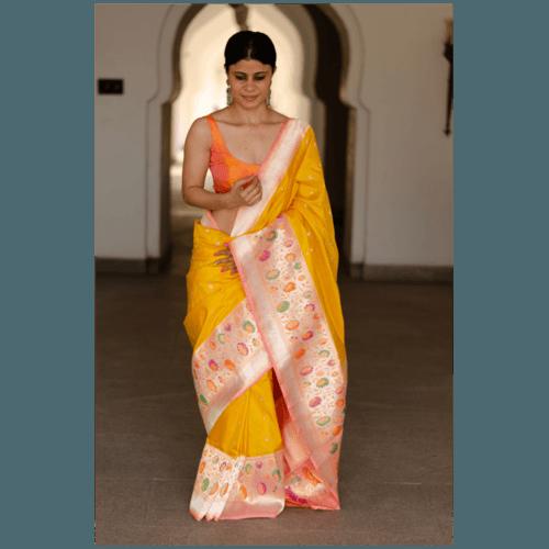 Pure katan silk paithani handloom banarasi saree