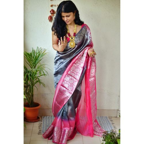 Handwoven organza sheer silk saree with banarasi motifs.