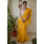 Hand embroidered and handmade  kota doria chikankari saree