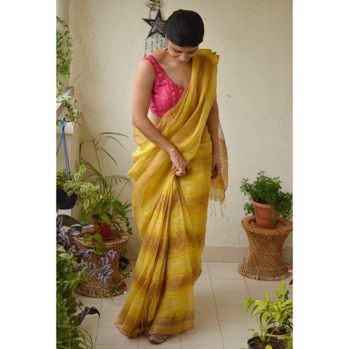 Handwoven jari wrap multi boxed linen saree