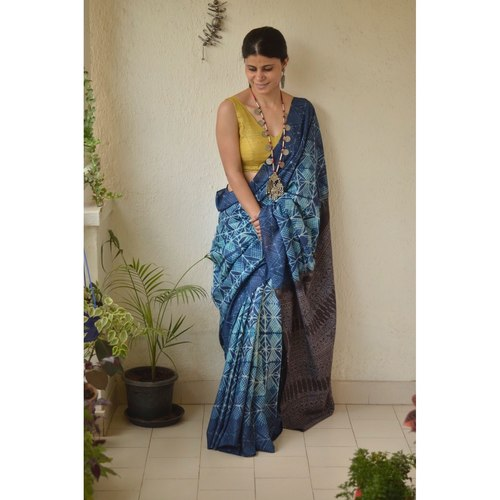 Handwoven and handmade Tussar  silk  saree in  shibori with Ajrakh design pallu