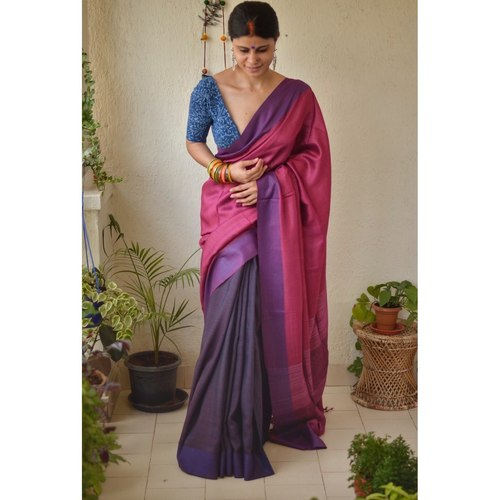 Handwoven  tussar silk saree with Aari silk in pallu and border