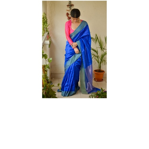 Handloom Chanderi Silk Saree with woven jari pallu.