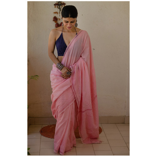 Handloom and Handembroidered chikankari muslin cotton saree with jali border work