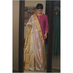 Handllom Chanderi silk dupatta with meenakari bootis in silver /gold  jari