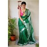 Handwoven organza sheer silk saree with bootis.