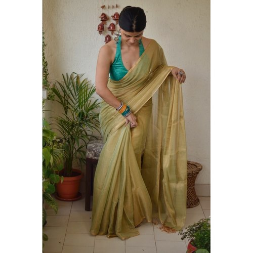 Handwoven mettallc linen saree