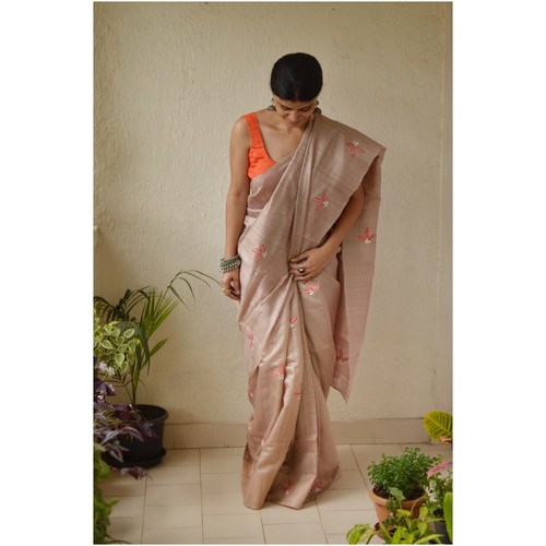 Handwoven & Hand embroidered tussar silk saree