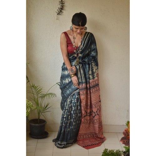 Handwoven and handmade Tussar  silk  saree in  shibori with Ajrakh design pallu