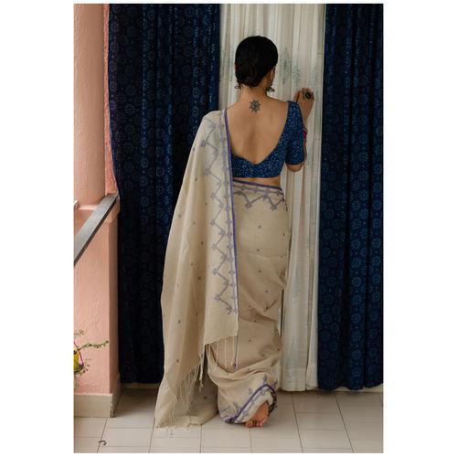 Handspun handwoven pure  linen Jamdani  motifs saree.