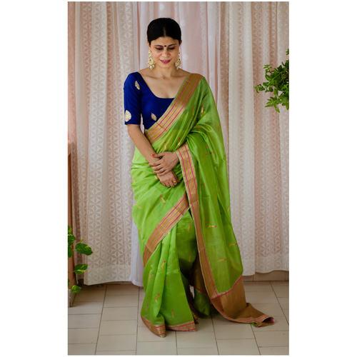 Handloom pattu silk saree with jari meenakarri motifs.
