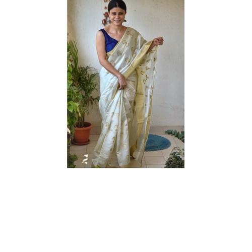 Handwoven chanderi silk saree with kadhwa meenakari motif