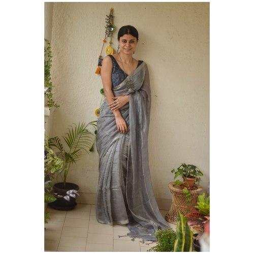 Handwoven linen saree in sheer texture