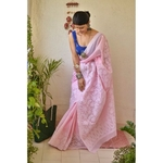 Hand embroidered and handmade cotton chikankari saree.