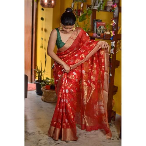 Handwoven Chanderi cotton silk saree with jaal khadiyal jari motif in silver and gold jari motif.