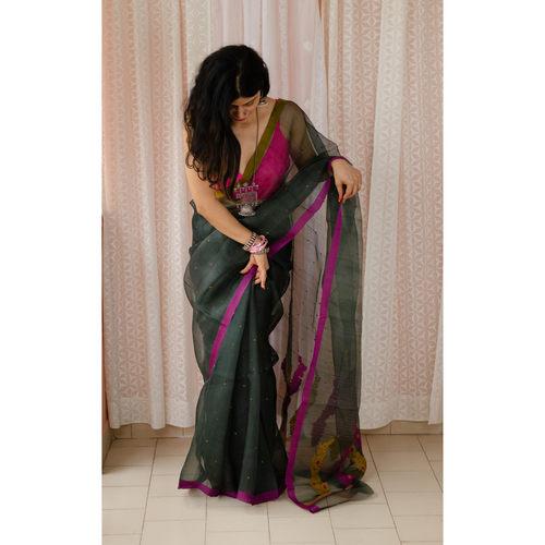 Handloom resham silk chanderi saree with resham and jari motifs.