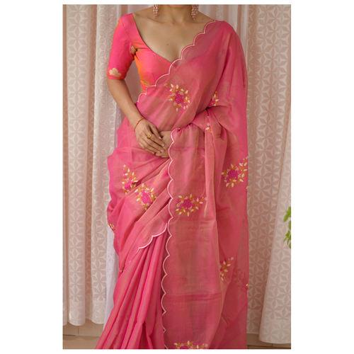 Handloom handembroidered  chanderi tissue  silk saree enhanced with  resham thread scallops.