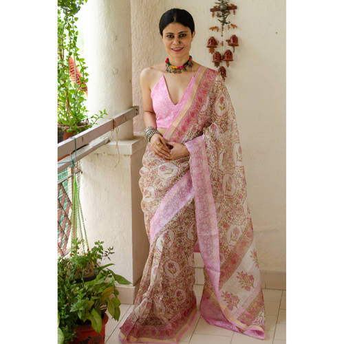 Handblock Printed Kota Silk Saree with patch borders in Satin silkCrape SilkOrganzaGeorgette Silk on the inside