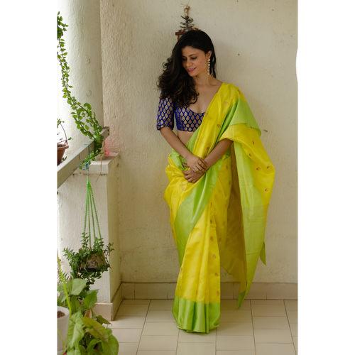 Handloom pattu silk chanderi saree with pallu silk border and handmade meenakari motifs in jari all over the sarees.