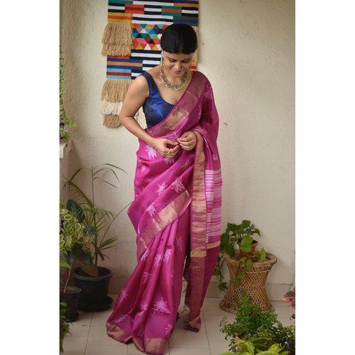 Handwoven Chanderi  jari silk shibori saree.