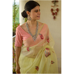 Handloom Chanderi Resham Silk Saree ,elevated with resham thread and sequins hand embroidery.