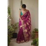 Handwoven Chanderi  cotton silk saree with jari border