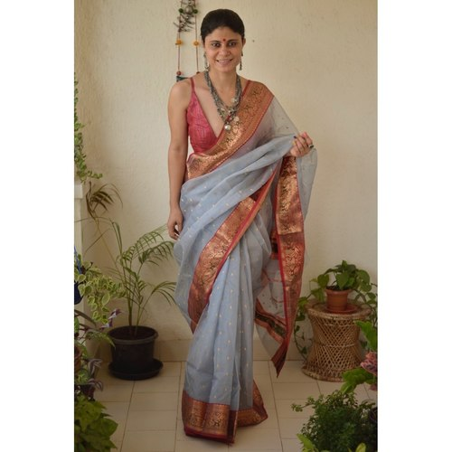 Handwoven Chanderi  silk saree with motif border and meenakari bootis