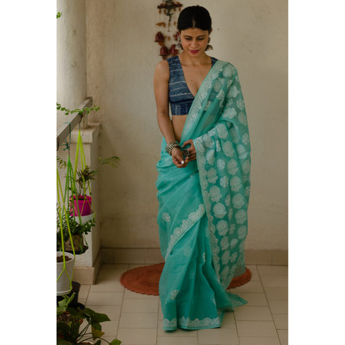 Handembroidered chikankari kota doria cotton saree.