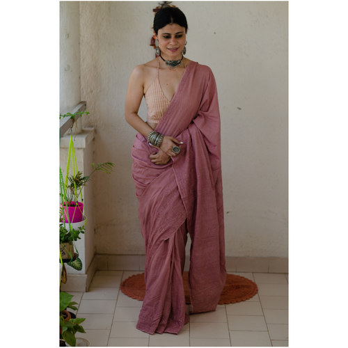 Handloom and Handembroidered chikankari mull cotton saree.