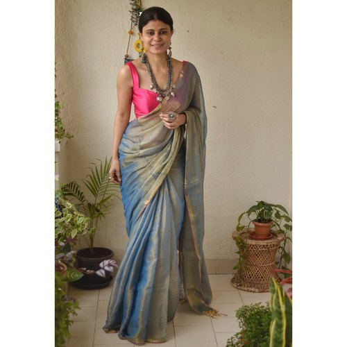 Handwoven metallic sheer linen saree.
