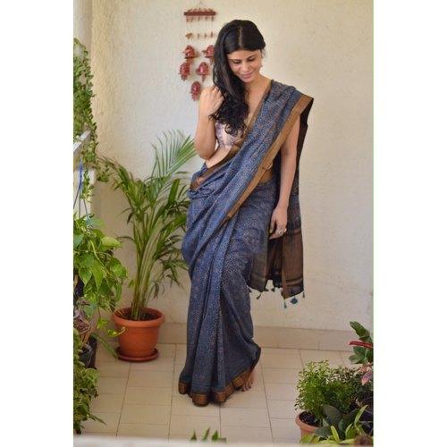 Ajrakh Handblock print mangalgiri cotton  saree with jari border