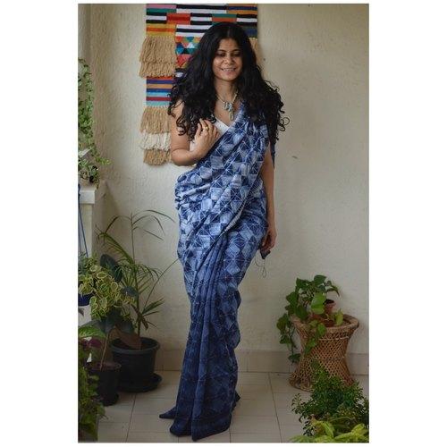 Handwoven Chanderi silk shibori saree.