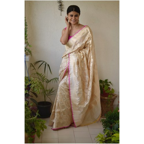 Handwoven Katan Silk Banarasi saree with handwoven motif and jari on pallu.