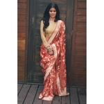 Handloom Kadhiyal  jaal jari motifs tissue silk banarasi saree.