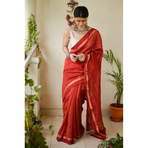 Handloom Chanderi silk cotton with woven motifs