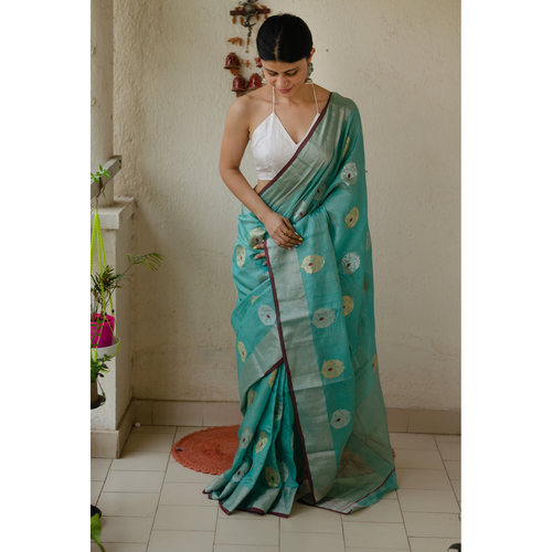 Handloom soft resham  chanderi silk  saree  with zari motifs