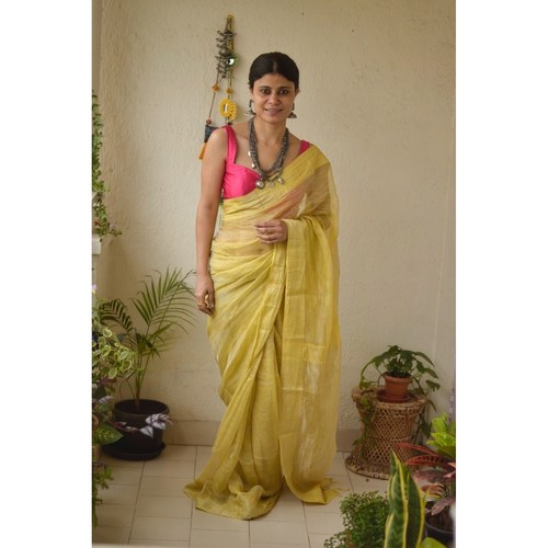 Handwoven metallic jari linen saree