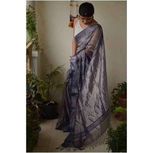 Handwoven jari warp linen saree with border work
