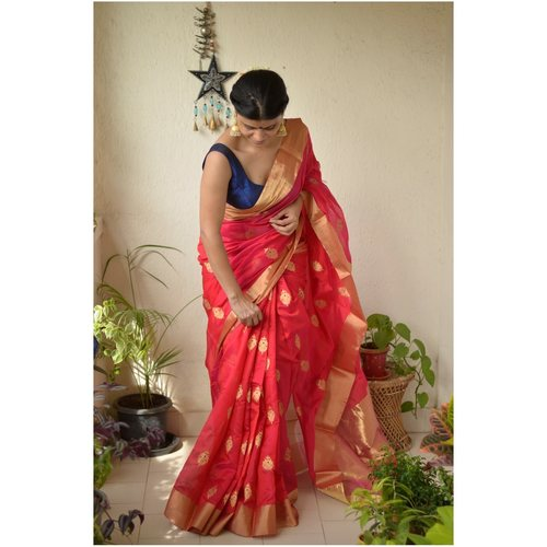Handwoven Chanderi Pattu silk saree with silk motif and Jari border