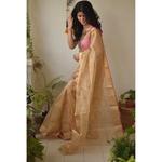 Handwoven Chanderi silk  Tissue saree with meena boots motif