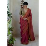 Handloom Metallic linen with  inside patch borders in raw silk/satin silk/crepe silk.