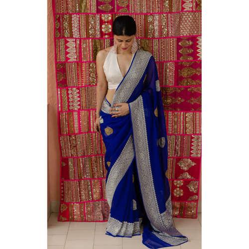 Handloom kadhwa georgette khadi  chiffon silk  banarasi saree with silver gold jari motifs.