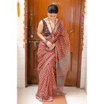 Hand block printed  and natural dyed kota doria saree