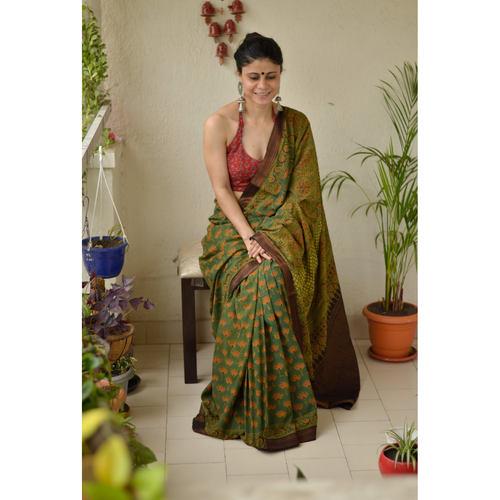 handmade natural dyed mangalgiri cotton Ajrakh  saree.