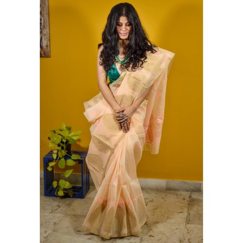 Hand embroidered and handmade  chanderi silk  chikankari saree